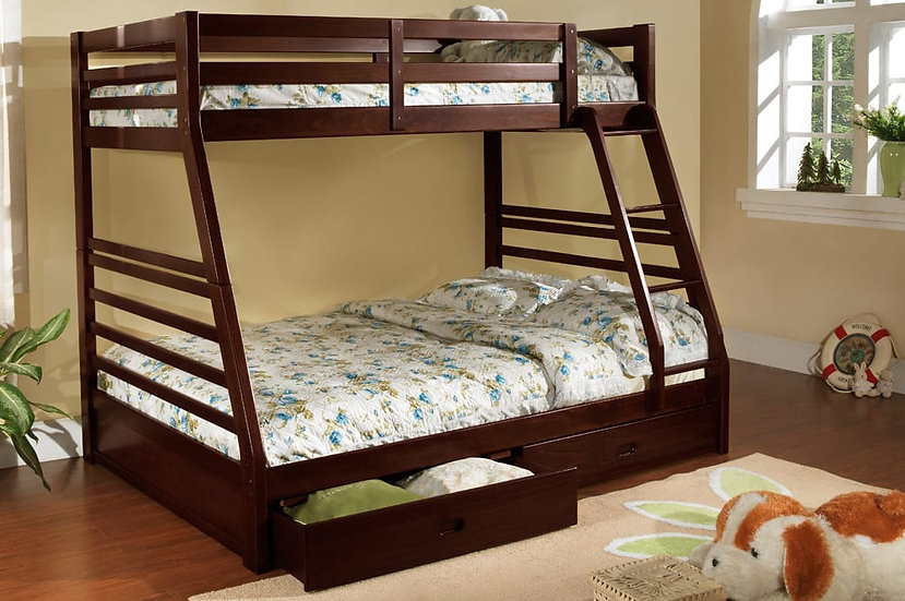 Twin over Full Bunk Bed with Drawers | Espresso