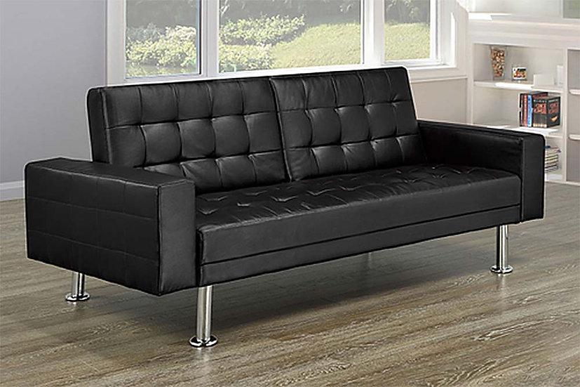 Leatherette Sofa Bed  ~ Black