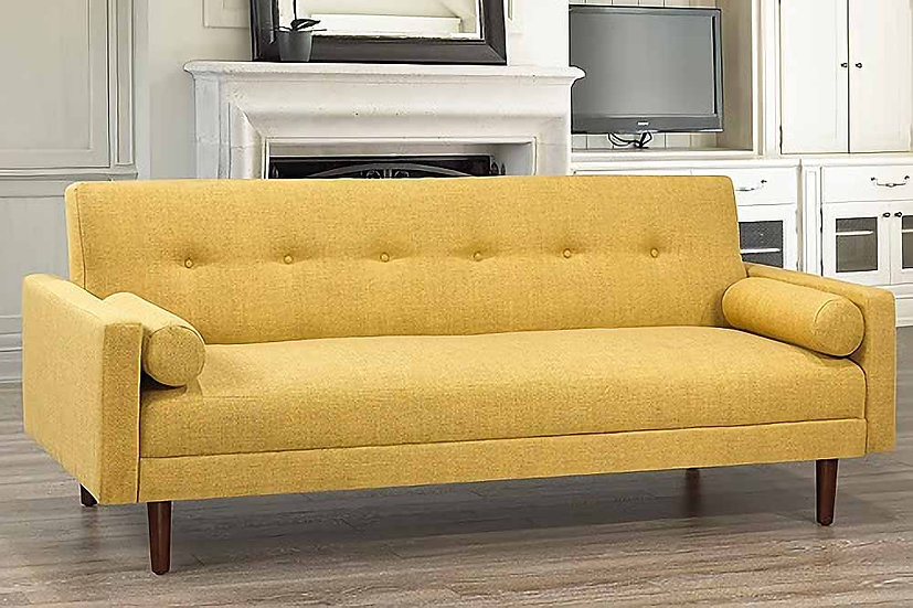Linen-Style Fabric Sofa Bed  ~ Yellow