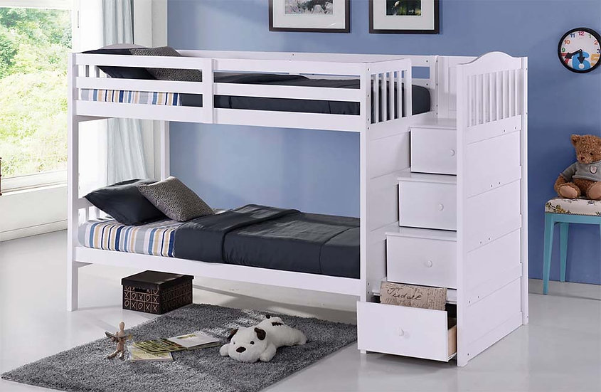 Twin Bunk Bed with Storage | White
