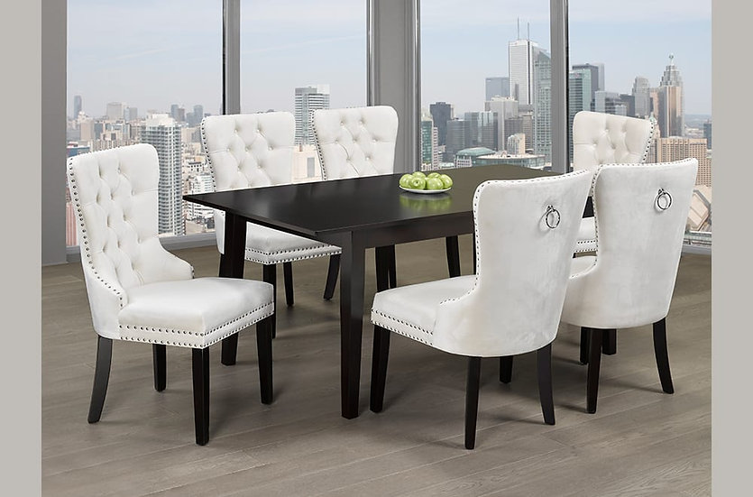 7 Piece Wooden Upholstered Dining Set