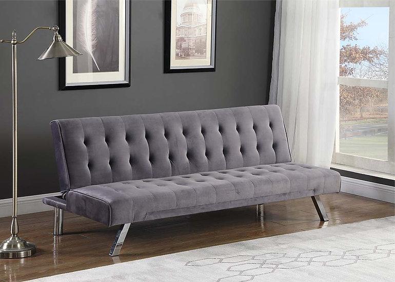 Linen-Style Velvet Sofa Bed  ~ Grey