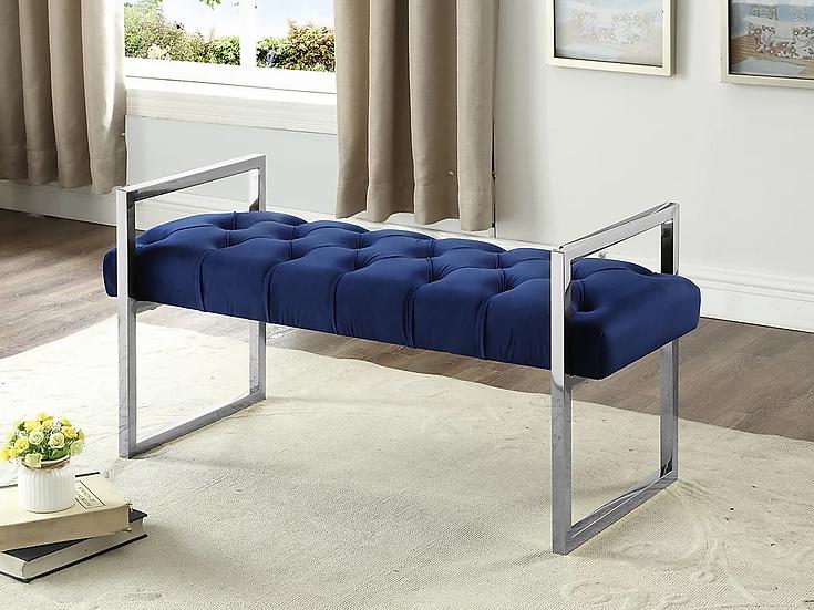 Velvet Fabric Bench ~ Blue