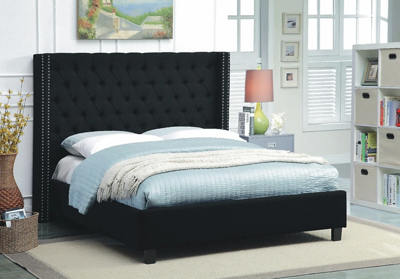 Fabric Wing Platform Bed ~ Black