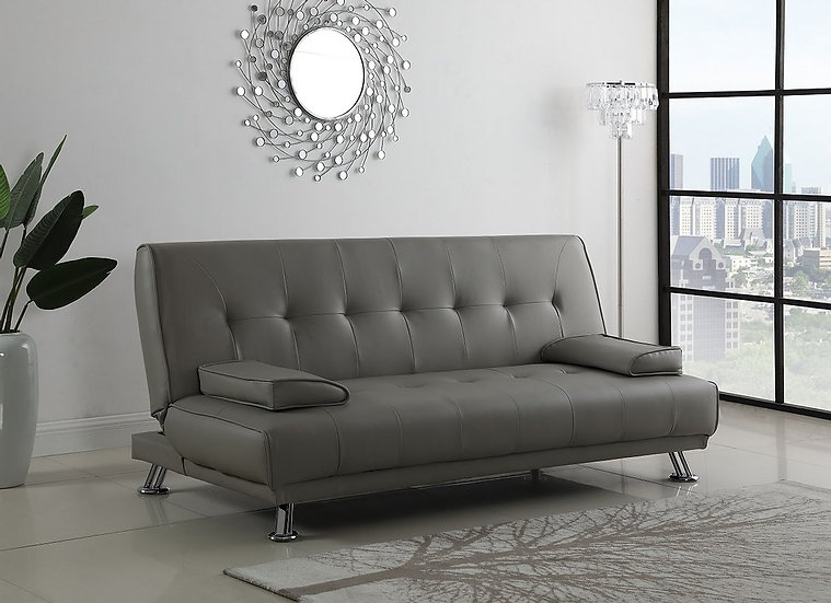 Leatherette Sofa Bed  ~ Grey