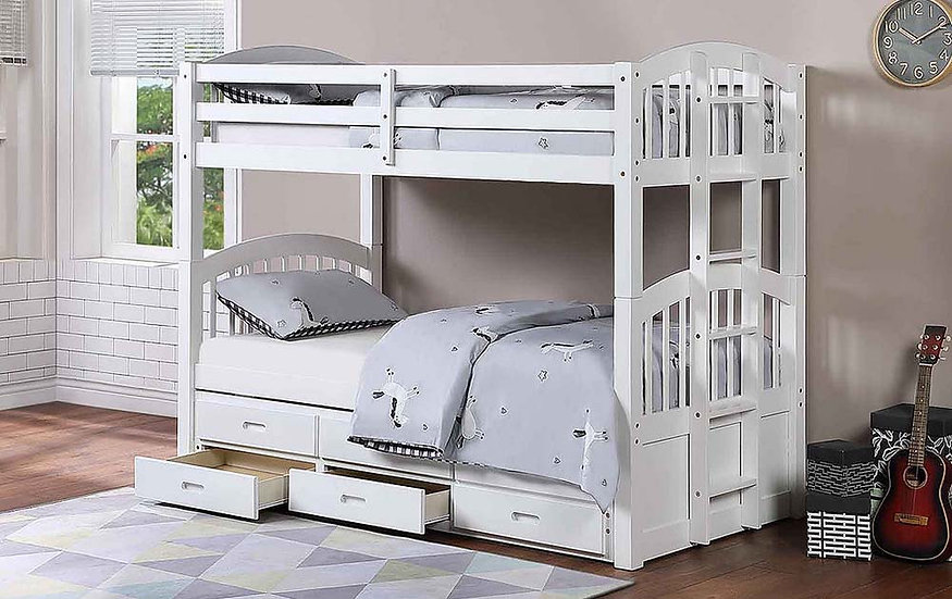 Twin over Twin Bunk Bed with Trundle Storage | White