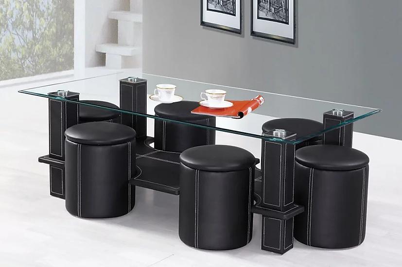 Glass & Leatherette Coffee Table Set ~ Black