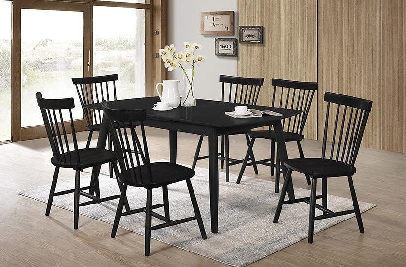 7 Piece Wood Dining Set ~ Black