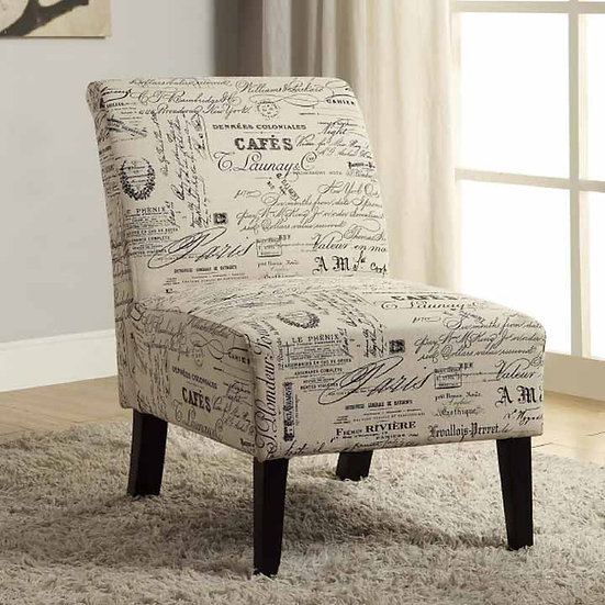 French Scrip Fabric Chair ~Beige