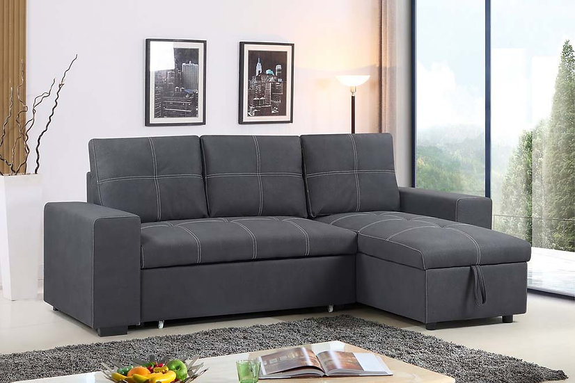 Reversible Sofa Pull Out Bed & Storage ~ Grey