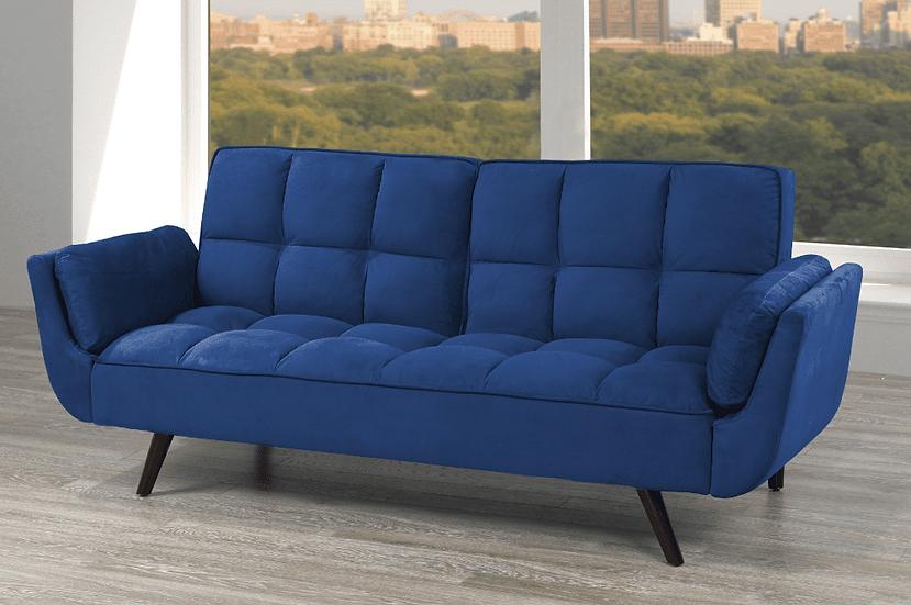 Velvet-Style Fabric Sofa Bed  ~ Royal Blue
