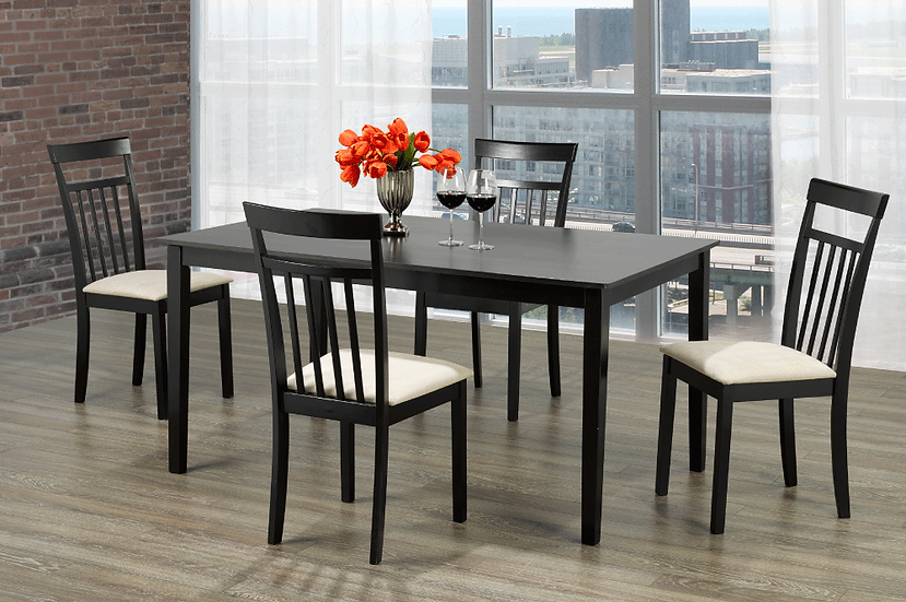 5 Piece Wood Upholstered Dining Set ~ Espresso