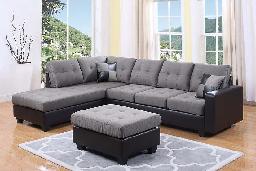 Reversible Frabic Sectional Sofa with Ottoman ~ Grey