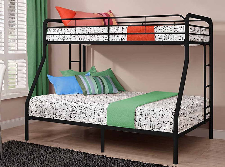 Metal Bunk Bed Twin over Full | Black