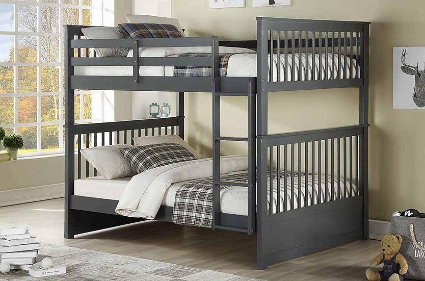 Wooden Full over full Bunk Bed | Grey