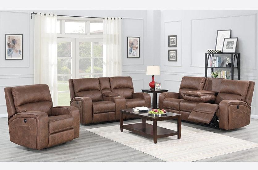 3 Piece Storage Power Recliner Sofa Set ~ Cognac