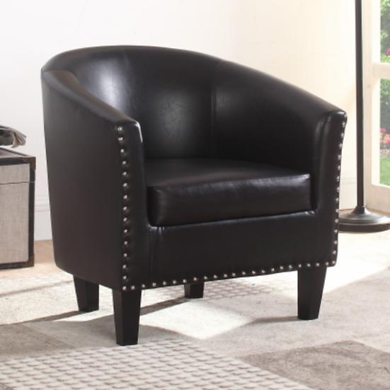 PU Leather Tub Chair ~ Grey