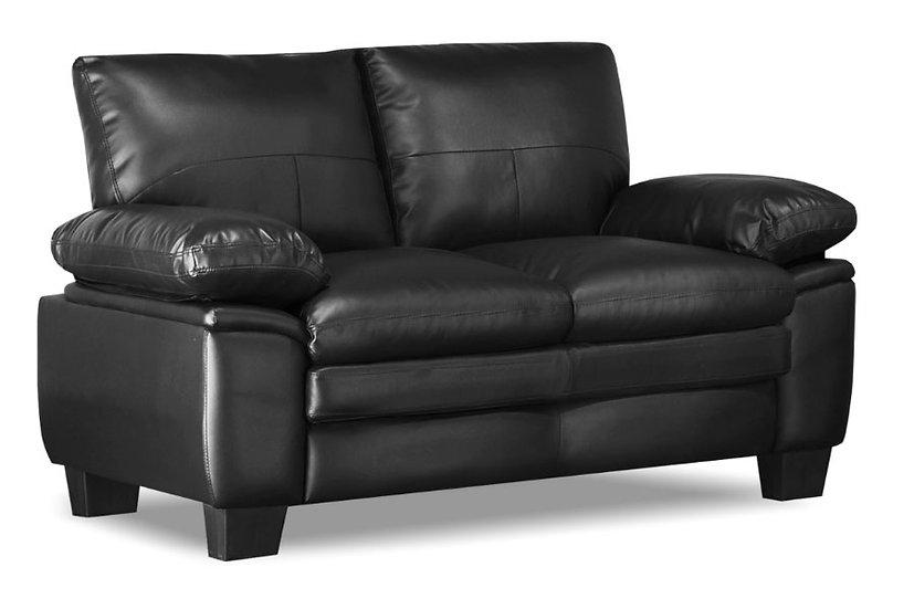 Bonded Leather Loveseat ~ Black
