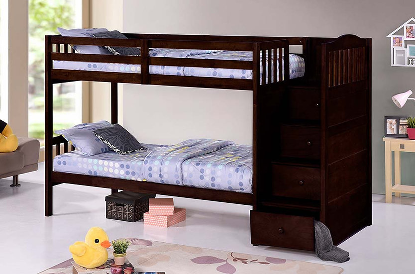 Bunk Bed with Stairs and Storage | Espresso