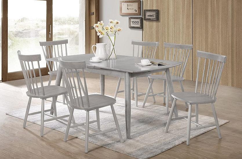 7 Piece Wood Dining Set ~ Grey