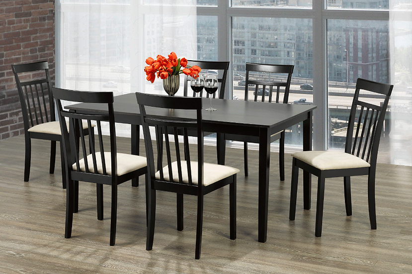 7 Piece Wood Upholstered Dining Set ~ Espresso