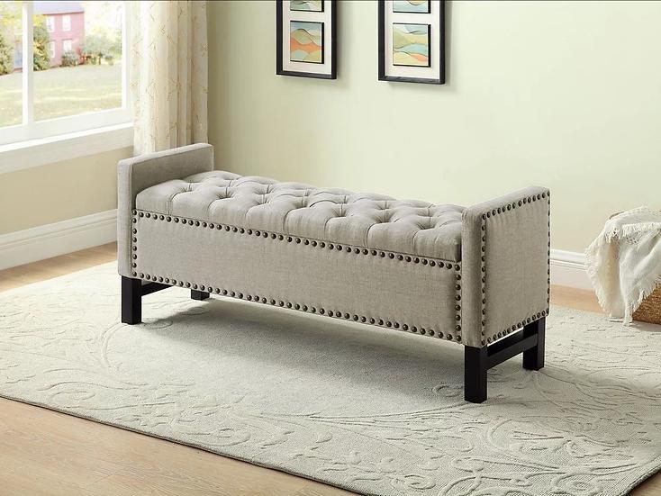 Velvet Fabric Storage Bench ~ Beige