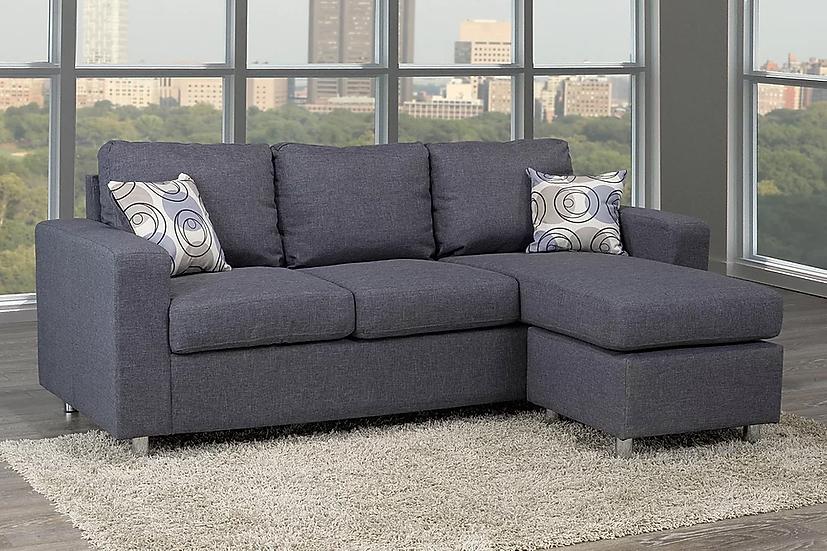 Reversible Linen Sectional Sofa ~ Grey