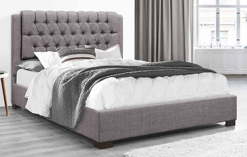 Fabric Platform Bed ~ Grey