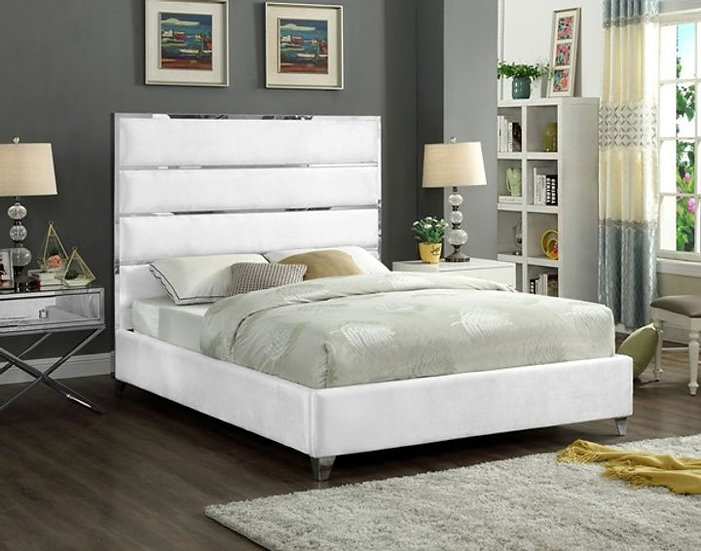 Velvet Fabric Platform Bed ~ Cream
