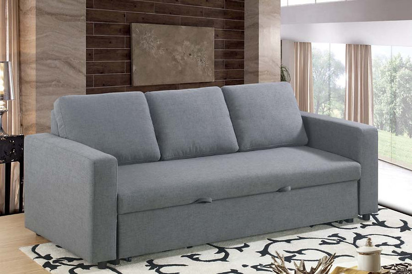 Linen Fabric Sofa Pull Out Bed ~ Grey