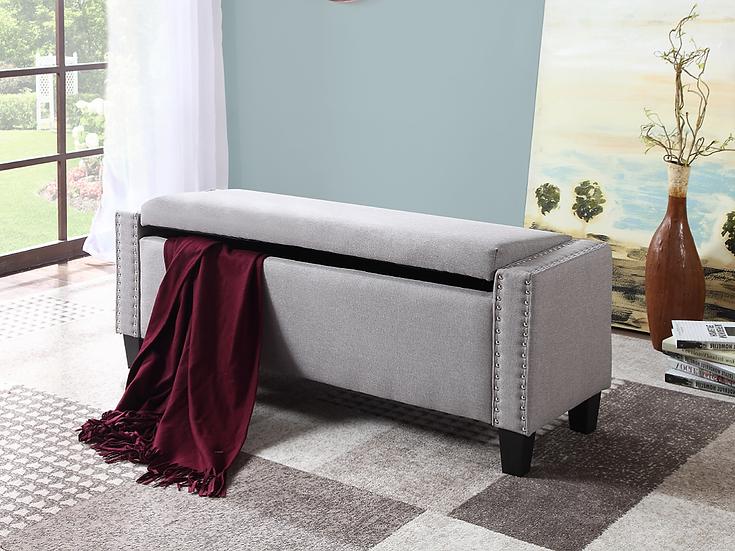 Fabric Storage Bench ~ Light Grey