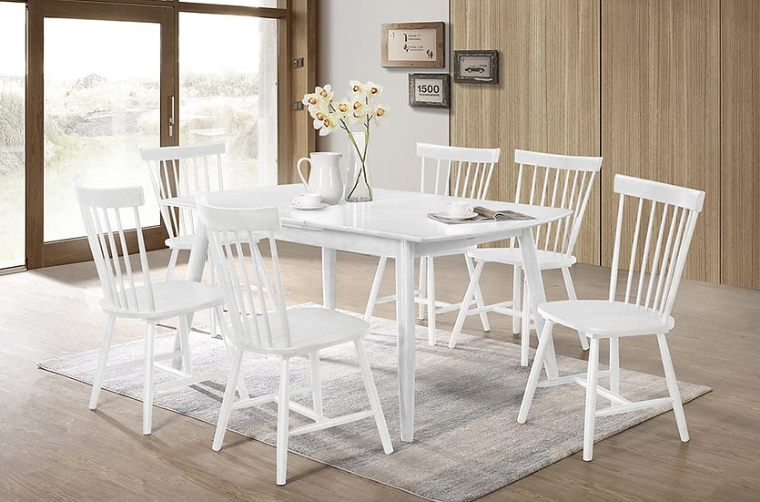 7 Piece Wood Dining Set ~ White