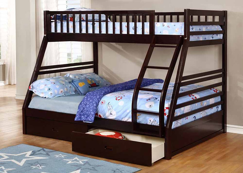 Twin over Full Bunk Bed with Storage Drawers | Espresso