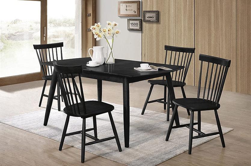 5 Piece Wood Dining Set ~ Black