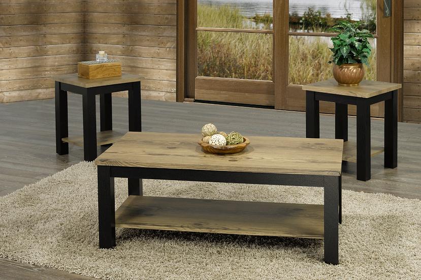 3 Piece Wooden Storage Coffee Table Set ~ Oak