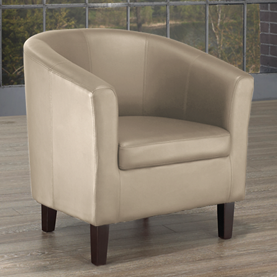 PU Leather Tub Chair ~ Taupe