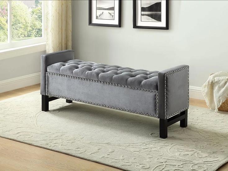 Velvet Fabric Storage Bench ~ Grey