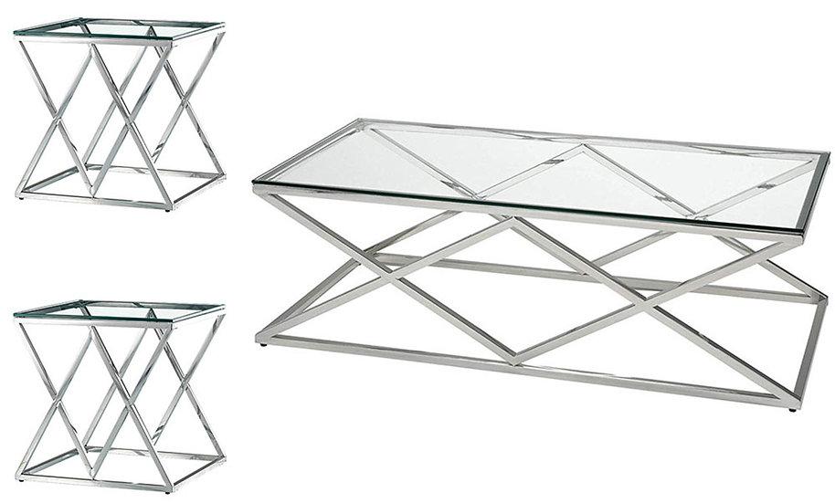 3 Piece Glass Coffee Table Set