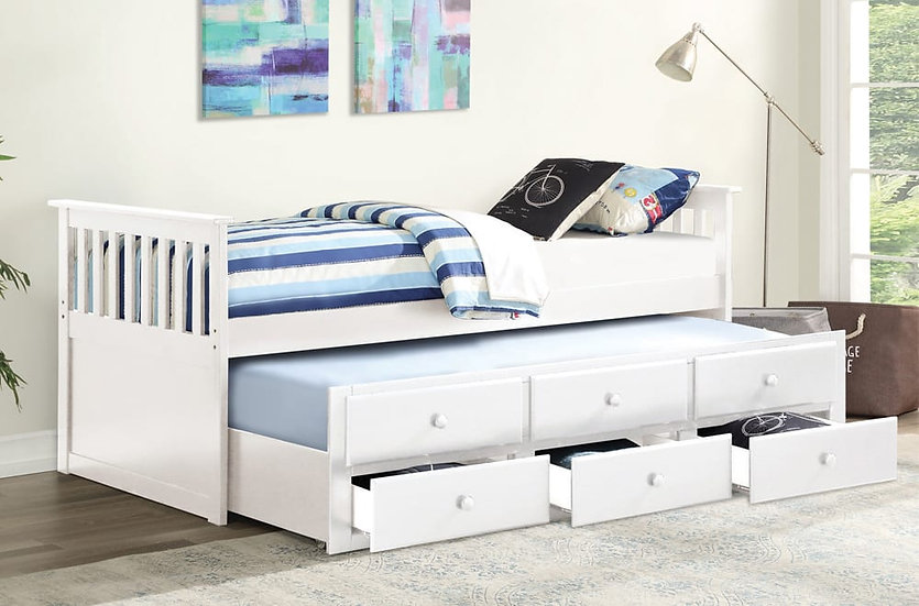 Wooden Trundle Bed ~ White