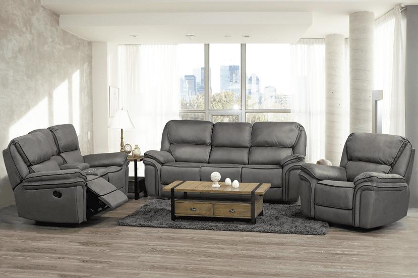 3 Piece Storage Recliner Sofa Set ~ Smoke