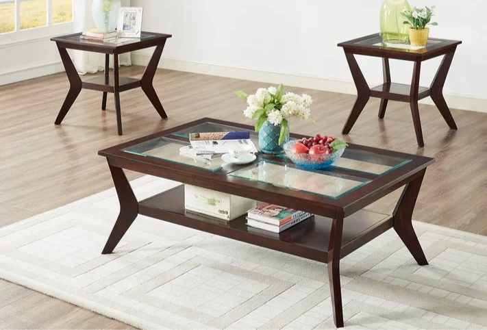 3 Piece Coffee Table Set Wooden & Glass