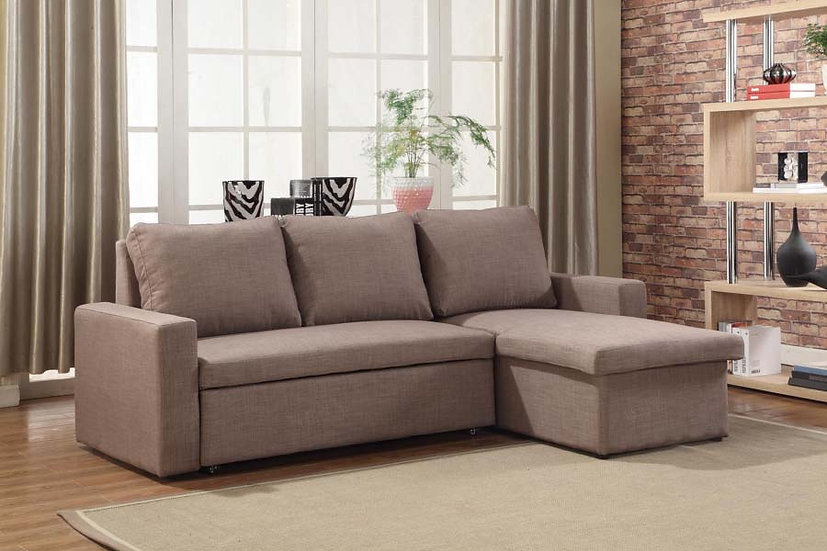 Sofa Pull Out Bed & Storage ~ Brown