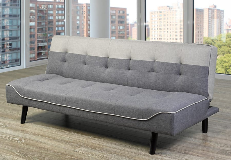 Two-Tone Linen-Style Fabric Sofa Bed  ~ Grey