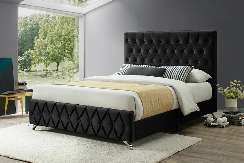 Diamond Pattern Fabric Platform Bed ~ Black