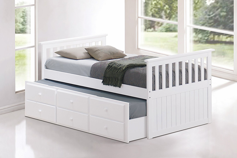 Wooden Storage Drawers Trundle Bed ~ White
