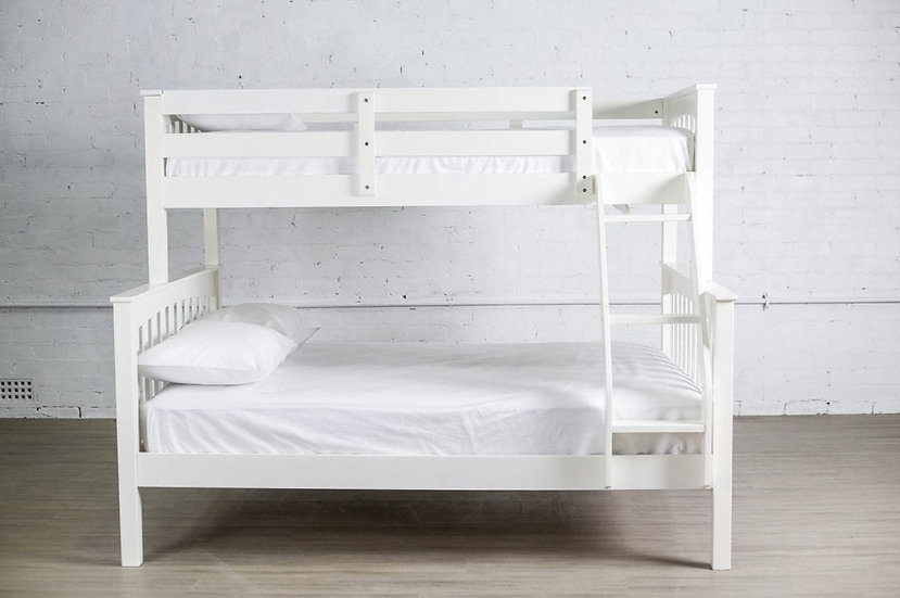 Wooden Twin Over Full Size Bunk Bed   White
