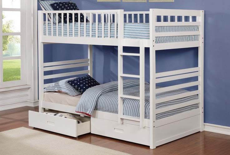 Twin over Twin Bunk Bed with Storage Drawers | White