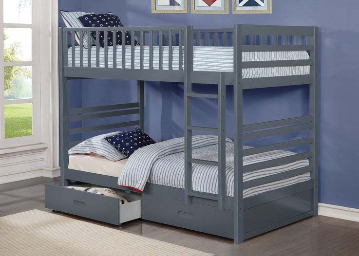 Twin over Twin Bunk Bed with Storage Drawers | Grey