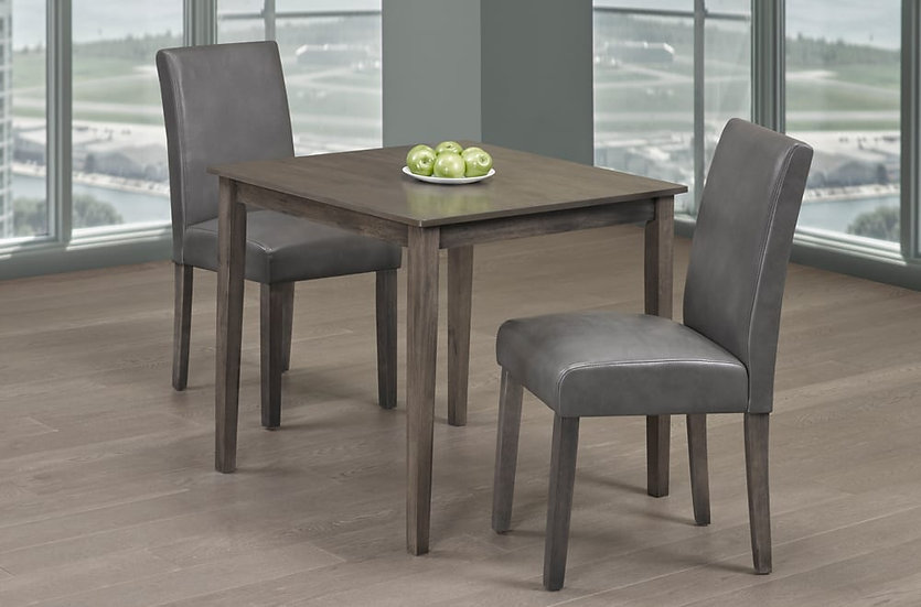 3 Piece Wood Upholstered Dining Set ~ Grey