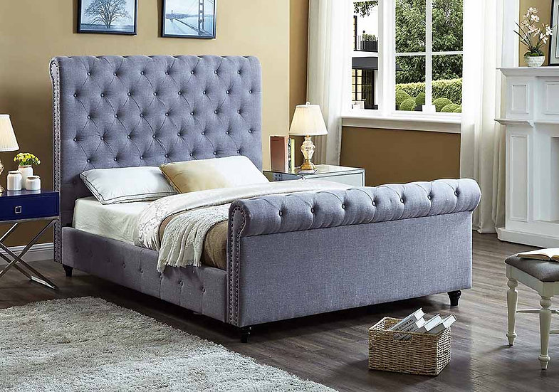 Fabric Sleigh Bed ~ Grey